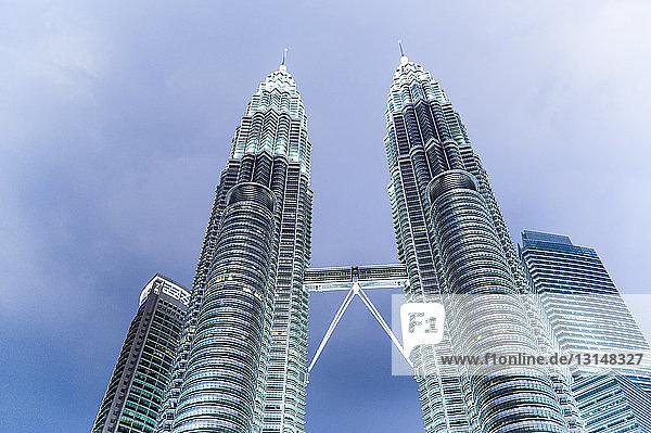 Petronas Towers  illuminated  low angle view  Kuala Lumpar  Malaysia Petronas Towers, illuminated, low angle view, Kuala Lumpar, Malaysia