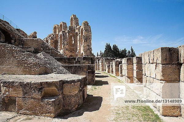 Detail of amphitheater ruins  El Jem  Tunisia