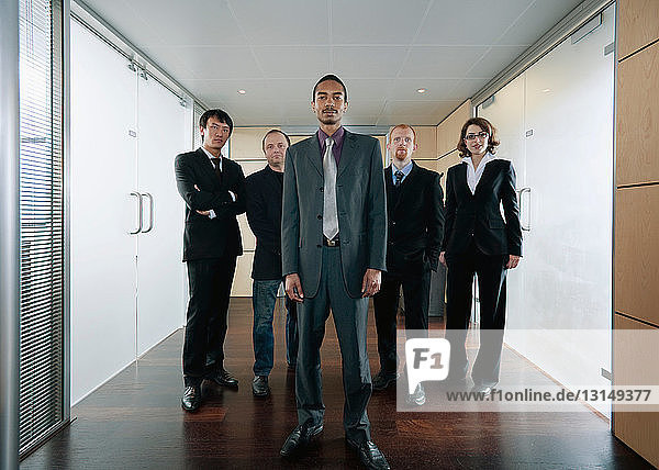 Black businessman and his team