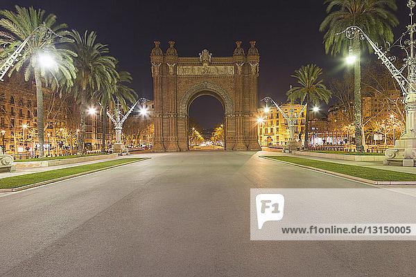 Arc de Triomf at night  Barcelona  Catalonia  Spain