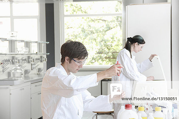 Chemistry students at work in lab