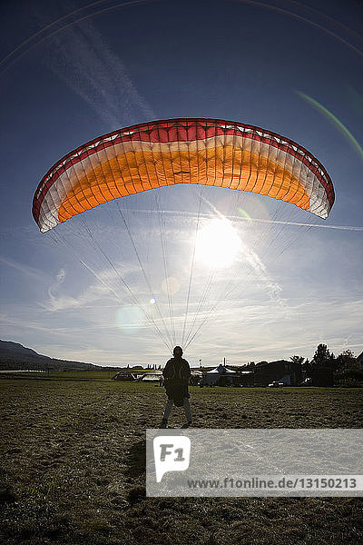 Mature male paraglider landing with parachute  Mount Saleve  Geneva  Switzerland