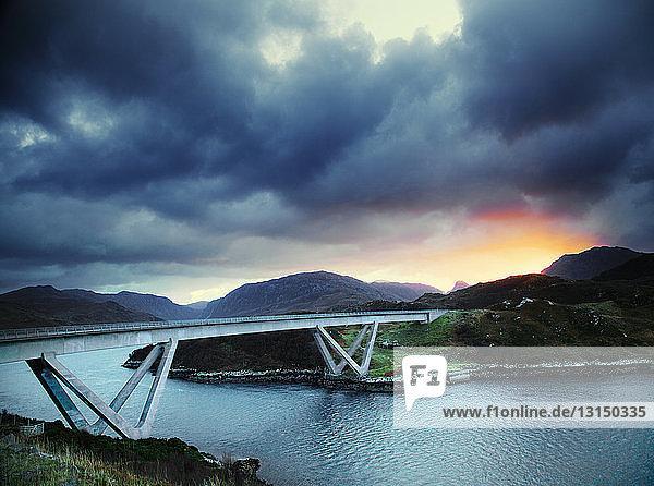 Dramatic sky and Kylesku Bridge  Kylesku  North West Highlands  Scotland  UK