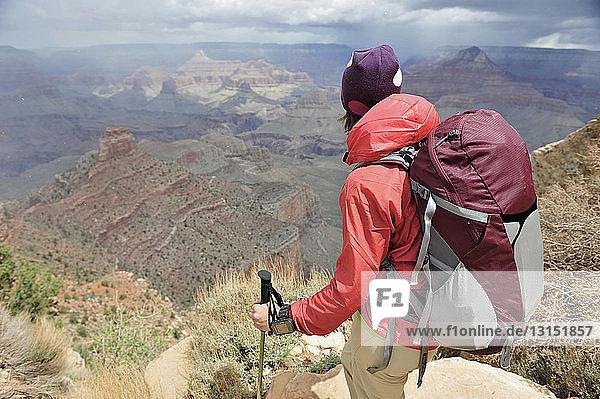 Female hiker looking toward Grand Canyon  Flagstaff  Arizona  USA