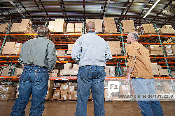 Male warehouse workers looking at cardboard boxes on shelves