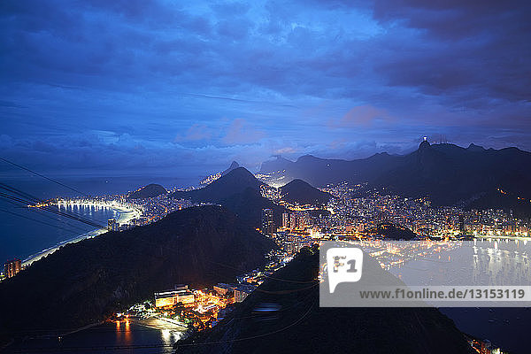 Night view of harbor and coast from sugar loaf mountain  Rio De Janeiro  Brazil