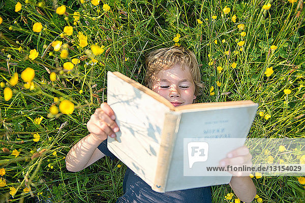 Boy lying on grass reading book