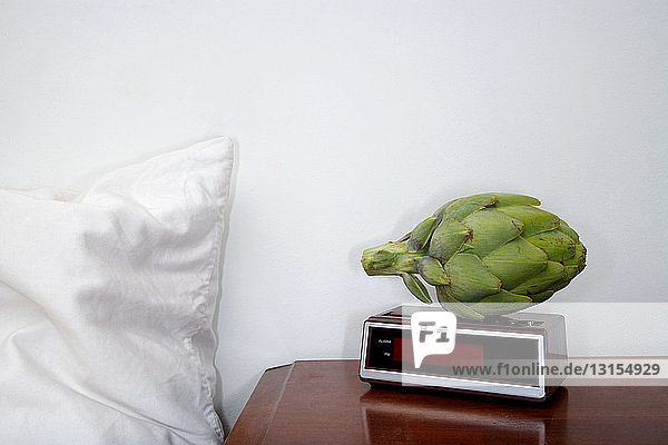 Artichoke on alarm clock