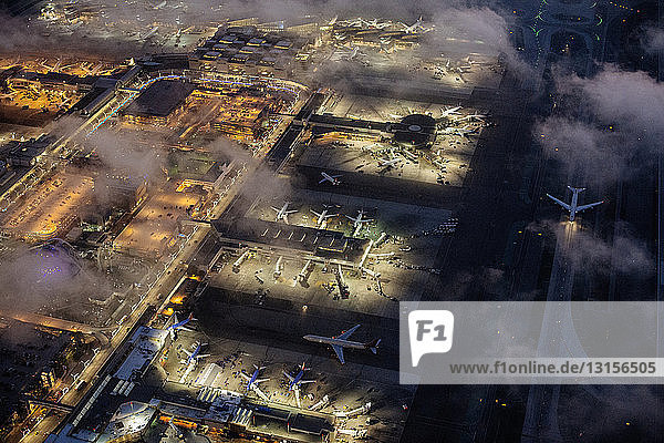 High angle view of airport illuminated at night  Los Angeles  California  USA High angle view of airport illuminated at night, Los Angeles, California, USA