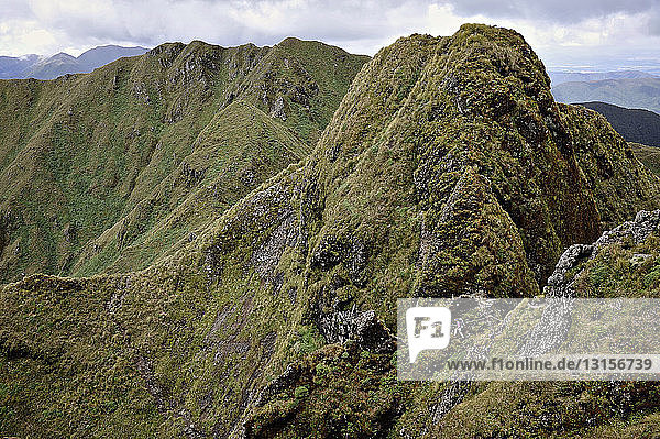Distant view of female hiker hiking in mountain landscape  Tararua Ridge  New Zealand