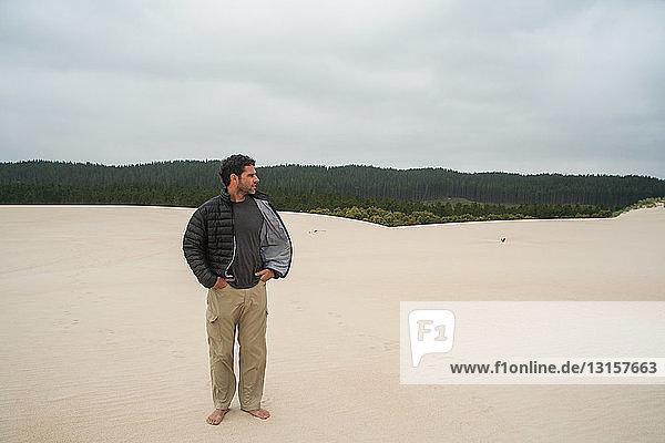 Mature man taking in his surroundings  Tasmania