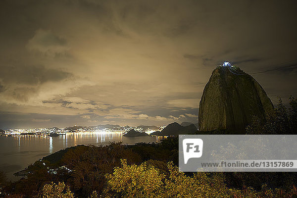 View of sugar loaf mountain at night  Rio De Janeiro  Brazil View of sugar loaf mountain at night, Rio De Janeiro, Brazil