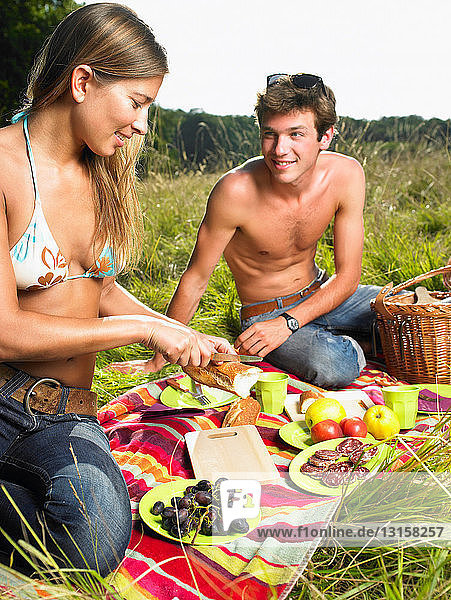 Couple having a picnic in a field Couple having a picnic in a field