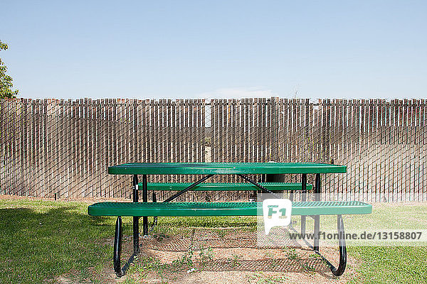 Picnic table at highway rest stop