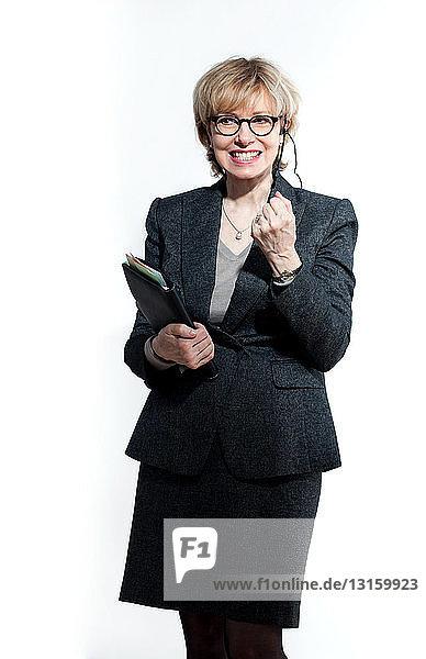 Successful businesswoman on headset