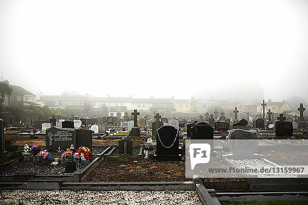 Misty cemetery and grave stones  Tramore  County Waterford  Republic of Ireland