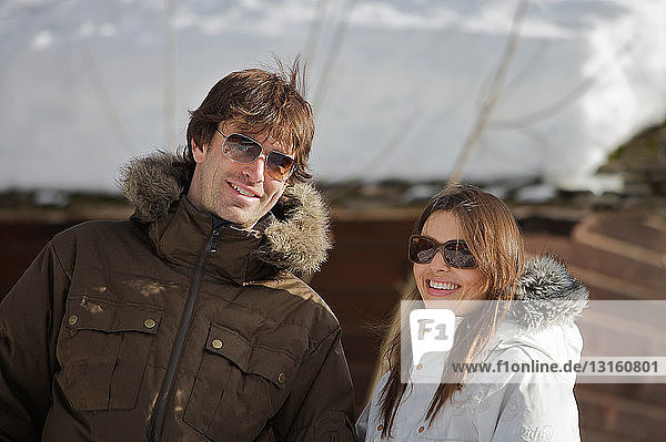 Couple in casual ski wear.