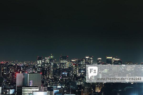 View of Tokyo skyline at night  Japan