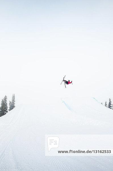 Freestyle-Skifahrer in der Luft  Whistler Terrain Park  Britisch-Kolumbien  Kanada