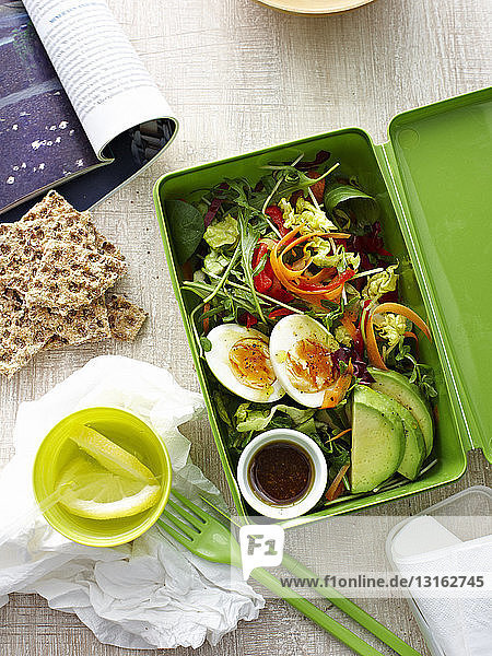 Lunch box of egg salad
