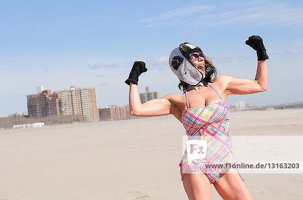 'Female participant in ''polar bear'' winter swim  Coney Island  New York  USA'