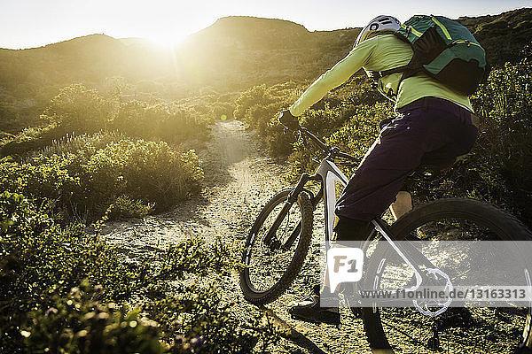 Junge Frau beim Mountainbiken auf Feldwegen  Monterey  Kalifornien  USA