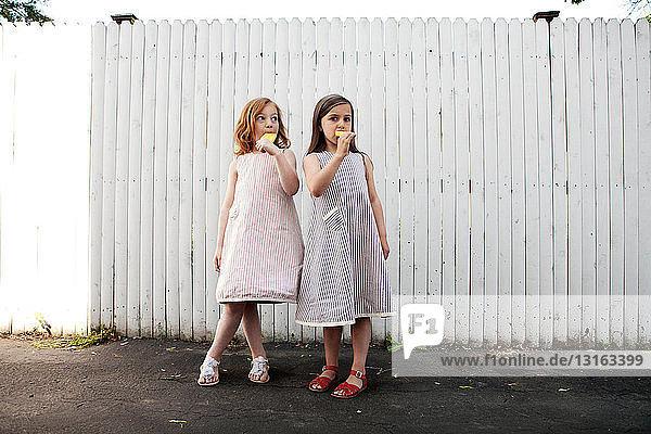 Zwei Mädchen essen Eis am Stiel
