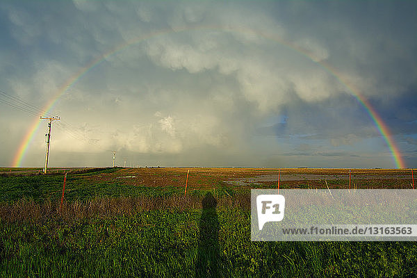 Shadow of photographer under mammatus clouds and rainbow  Knowles  Oklahoma  USA