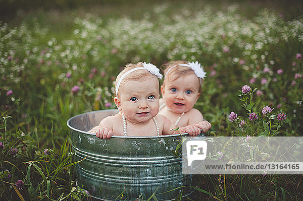 Portrait of baby twin sisters bathing in a tin bathtub in a wild flower meadow