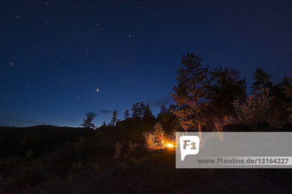 Freunde am Lagerfeuer  Pincushion Mountain  Peachland  Britisch-Kolumbien  Kanada