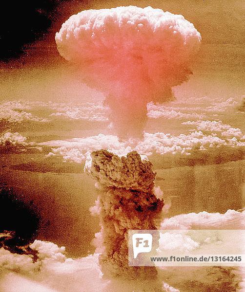Atomic bomb explosion over Nagaski  Japan