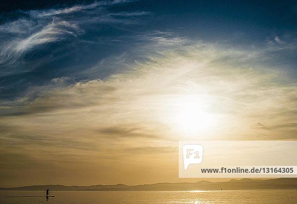 Stehender Paddelboarder auf dem Pazifik in Dallas Bay bei Victoria  Britisch-Kolumbien  Kanada