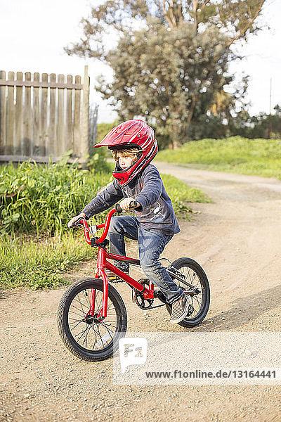Boy riding a bike on path