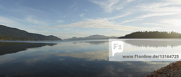 Panoramic view of lake and Mount Constitution  Orcas Island  Washington State  USA