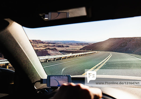 View from inside car driving in Monument Valley  Utah  USA