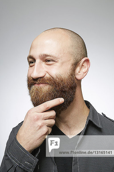 Studio portrait of mid adult man with shaved hair stroking overgrown beard
