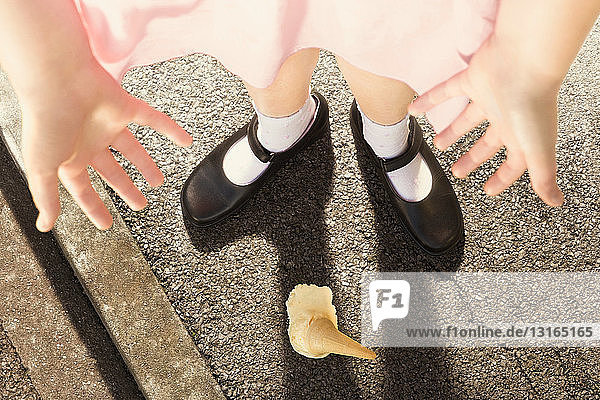 Girl standing over dropped Ice cream