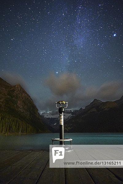 Viewing binoculars against starry sky  beside Lake Louise  Alberta  Canada