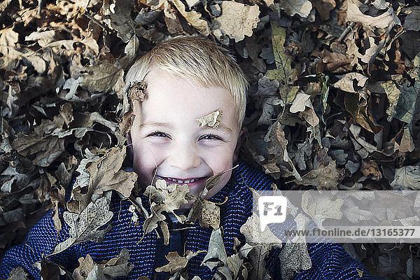 Draufsicht auf einen mit Herbstlaub bedeckten Jungen  der lächelnd in die Kamera schaut
