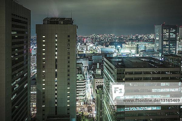 View of Tokyo at night  Japan
