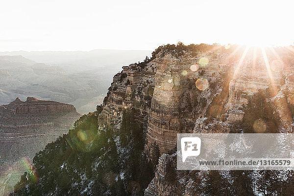 Sunlit view of Grand Canyon  Arizona  USA