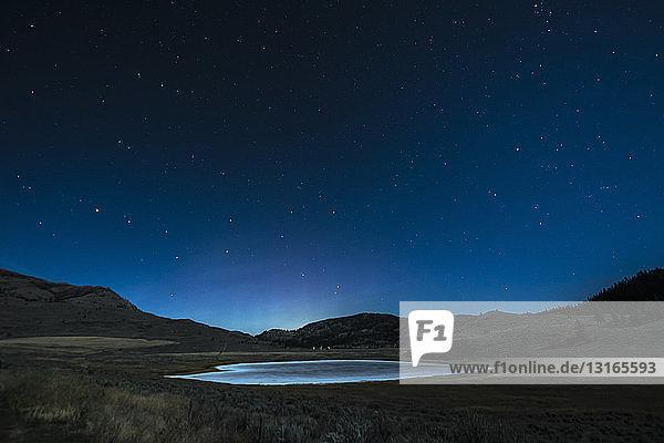 Schutzgebiet White Lake Grasslands bei Nacht  Cawston  Britisch-Kolumbien  Kanada