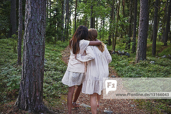 Teenage girls with arms around each other forest
