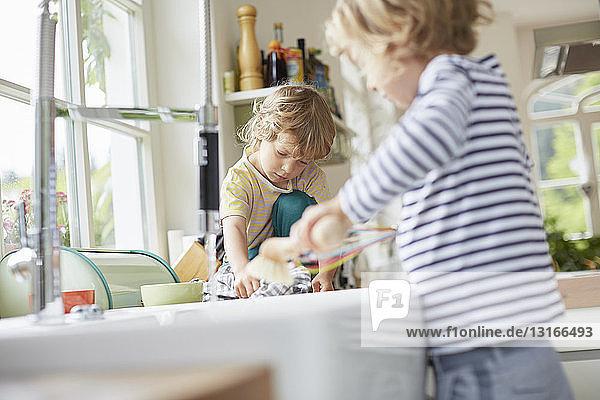 Zwei junge Brüder beim Abwasch