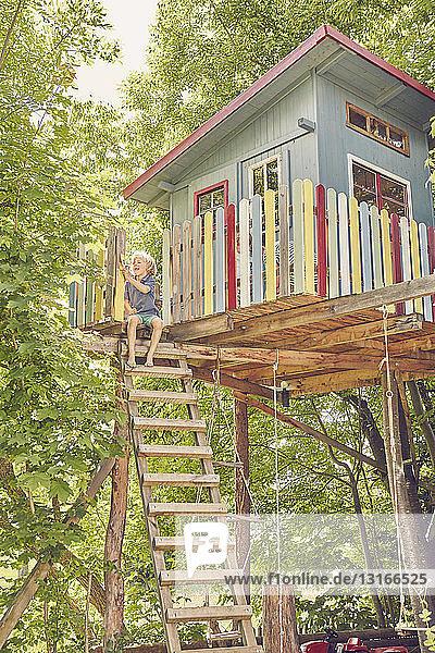 Junge malt Baumhaus