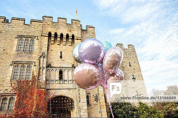 Luftballons  vor dem Schloss