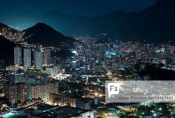 Aerial view of Rio de Janeiro at night