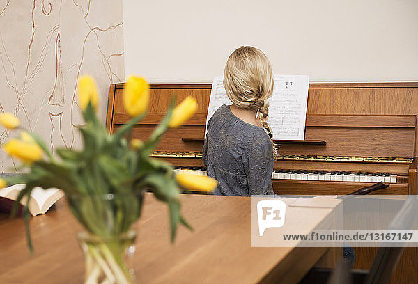 Rear view of girl at the piano in dining room