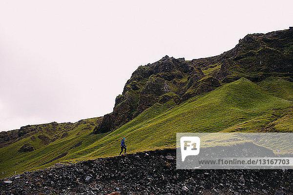 Mid adult woman hiking below lush green mountain range  Iceland