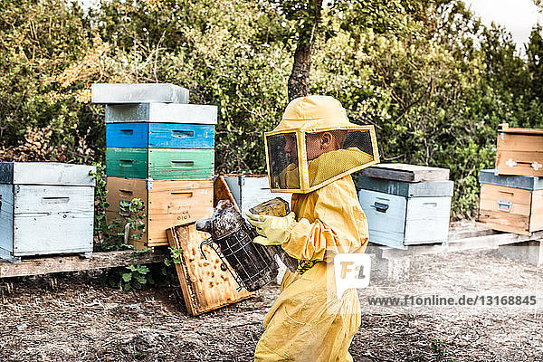 Junge Junge im Imkerkleid  hält Bienenraucher